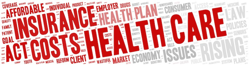 Word Cloud - Health Care Issues. wordclouds about healthcare, insurance, costs and plans Red, grey, white. Banner