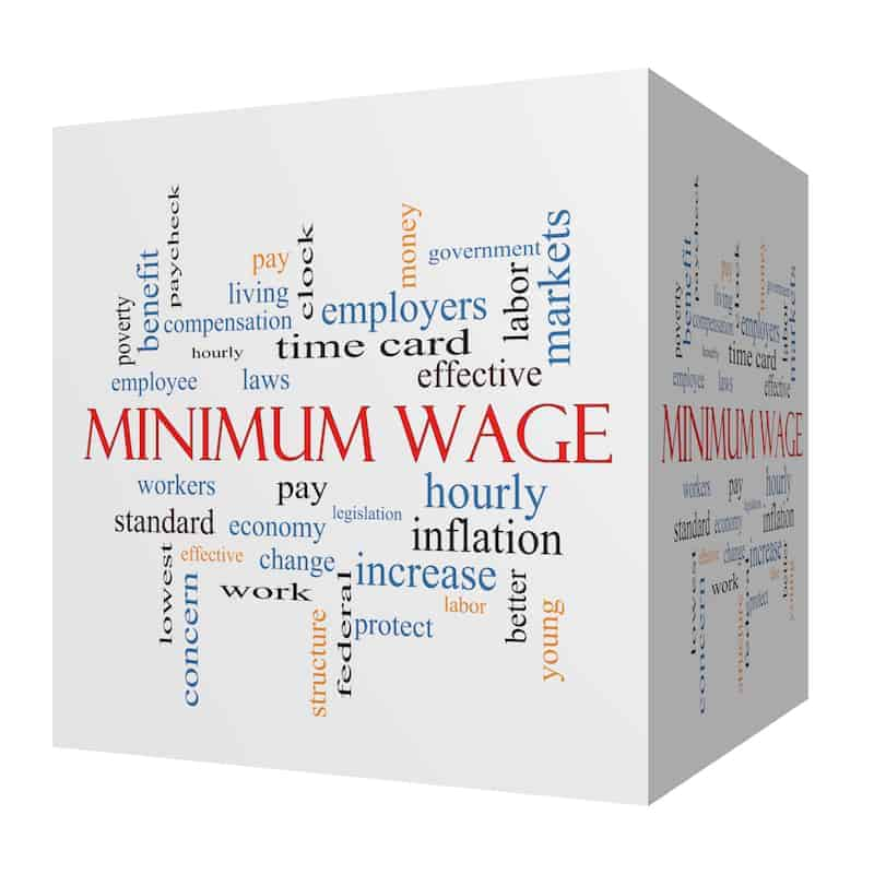 Minimum Wage 3D cube Word Cloud Concept with great terms such as pay, laws, hourly, workers and more.